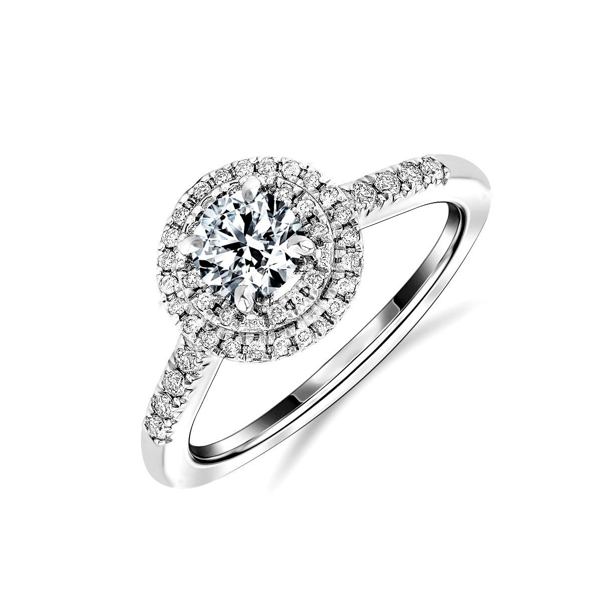 1.33ct Peony Halo | Round Cut Diamond Double Halo Engagement Ring | Platinum