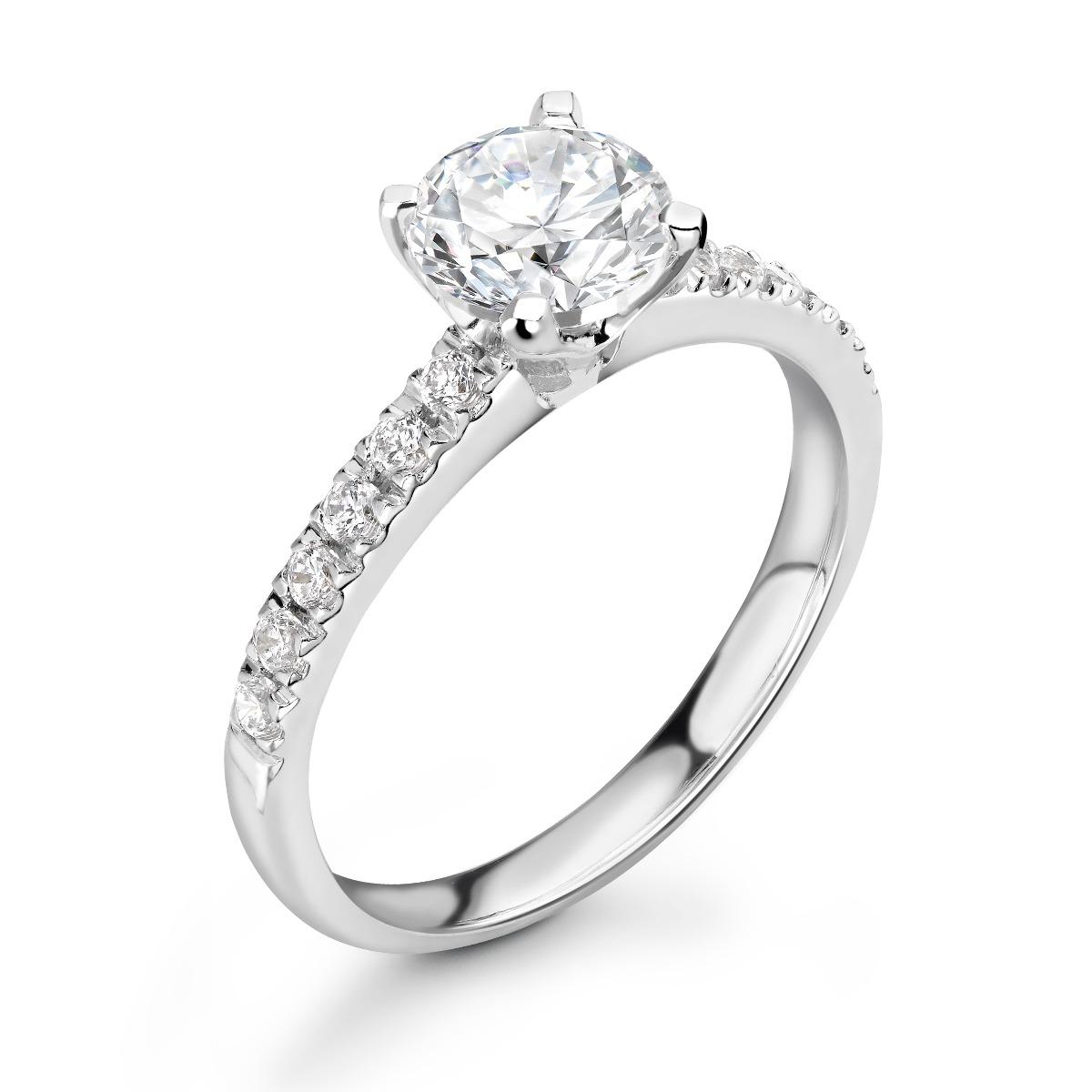 0.69ct Amelia Shoulder Set | Solitaire Diamond Engagement Ring | 18K White Gold