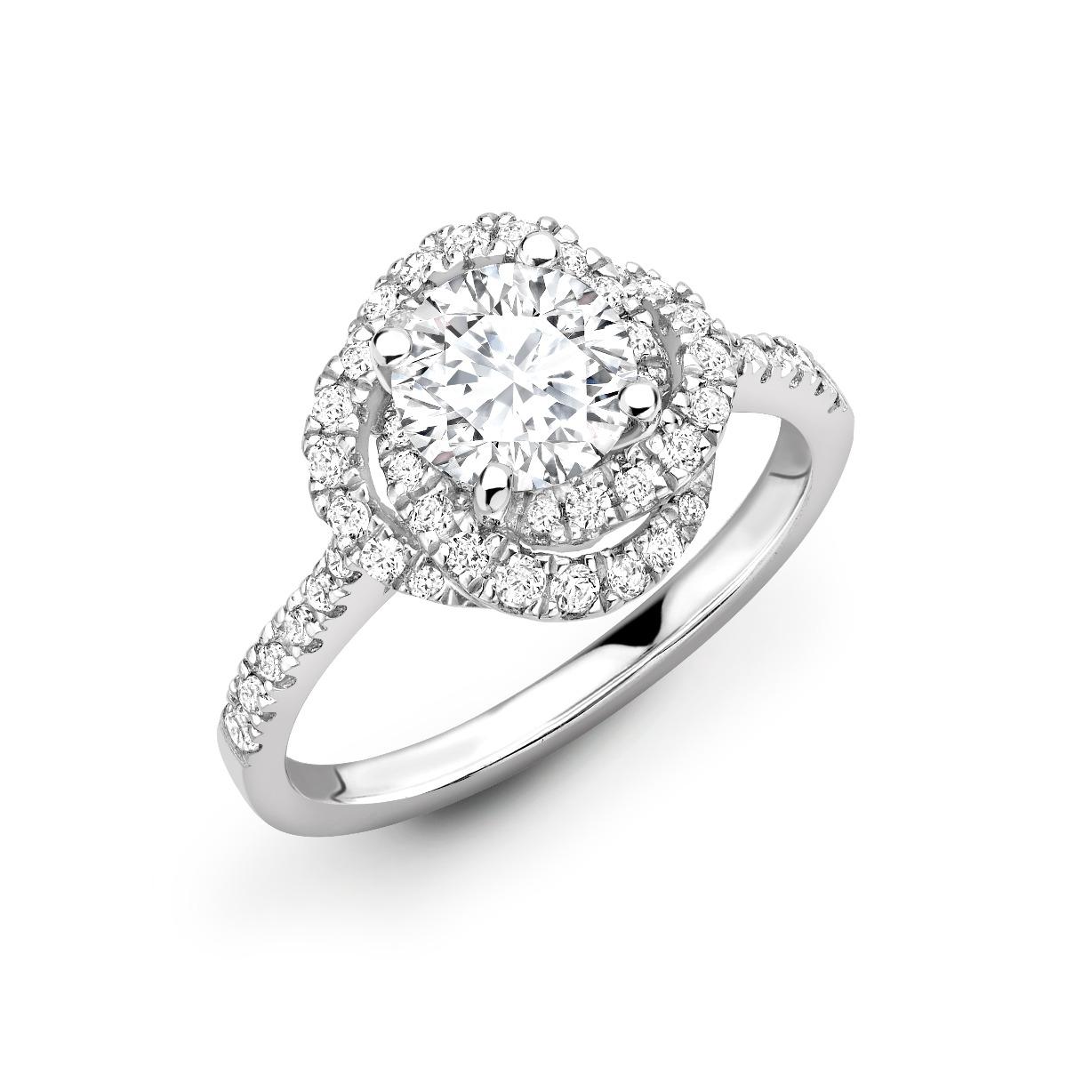 0.63ct Flora  Halo | Round Cut Diamond Triple Halo Engagement Ring | Platinum