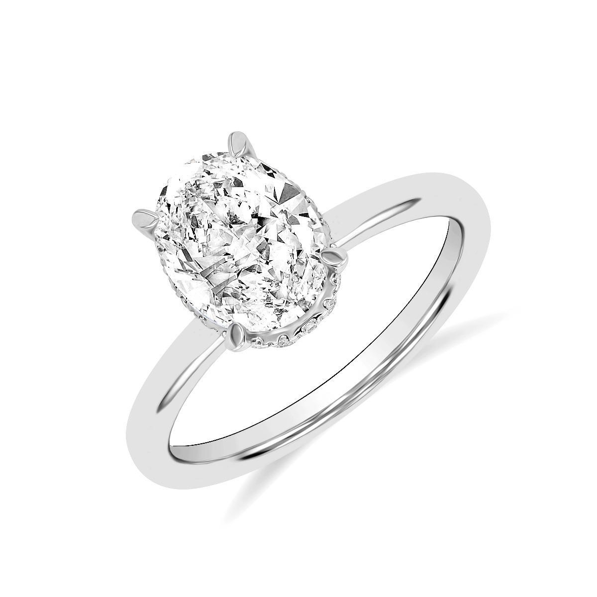 2.05ct Fleur Hidden Halo | Oval Solitaire Engagement Ring | 18K White Gold