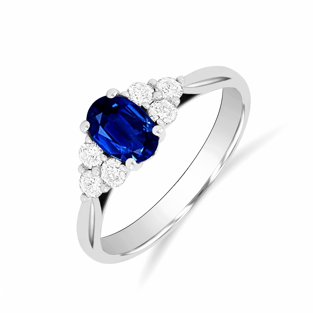 Riviera Collection 0.55ct Oval Sapphire & Diamond Ring | 9K White Gold