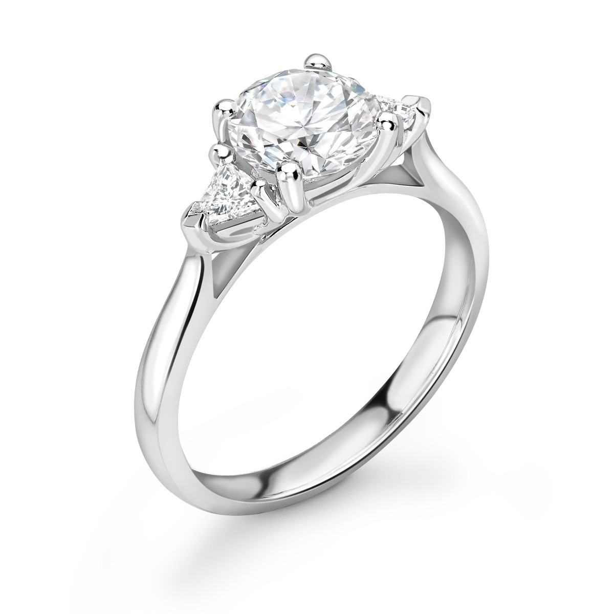 0.66ct Georgia Trilogy | Diamond Round & Trillion 3 Stone Engagement Ring | 18K White Gold