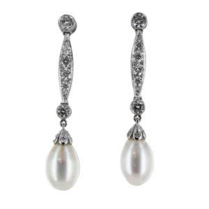 Browns Family Jewellers Diamond & Pearl Drop Earrings
